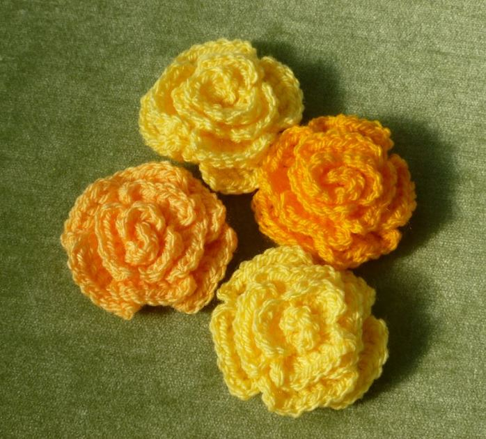 crochet rose sewing together